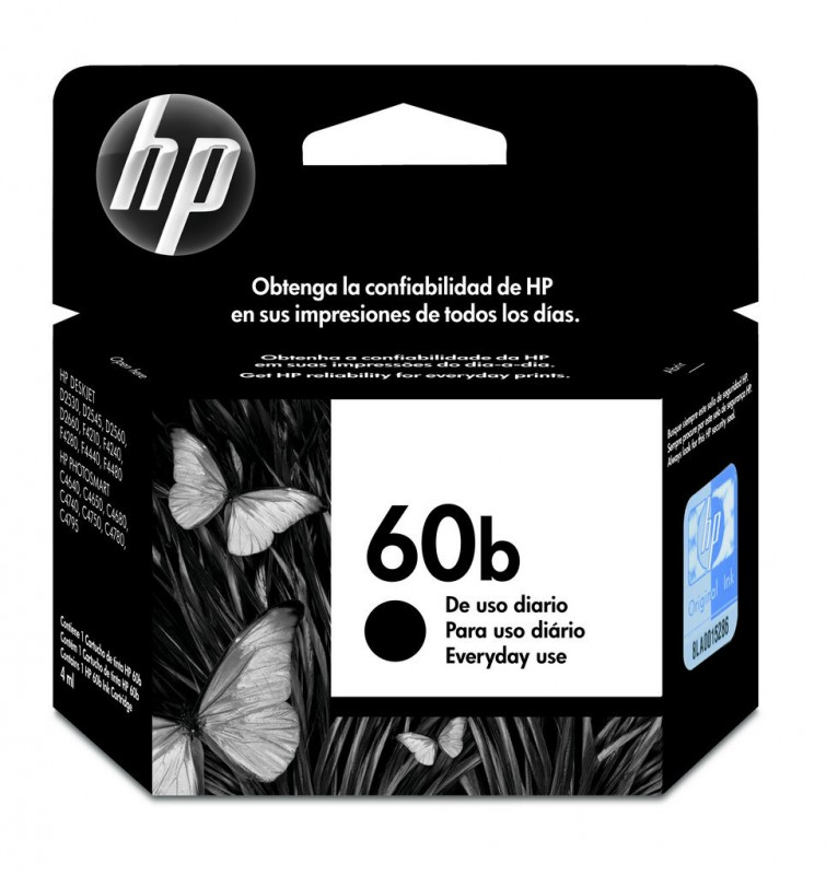 CARTUCHO HP CC636WB EVERYDAY No 60B PRETO 4,5ML